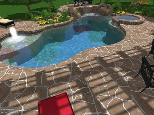 pool west view landscaping