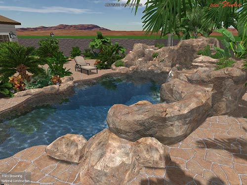 pool landscaping west view