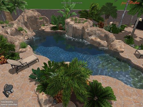pool north view landscaping